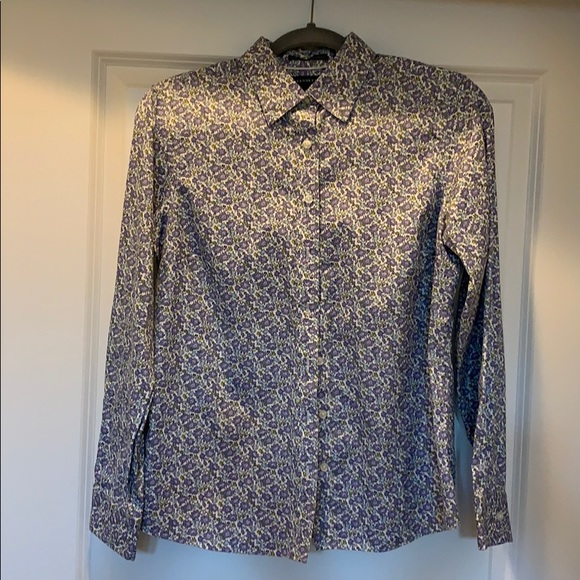 Lands End pinpoint oxford button down blouse